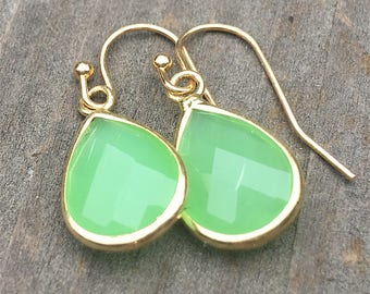 Teardrop crystal earrings, Jade Green earrings, Teardrop earrings,  Jade Green Crystal Earrings