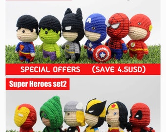 Crochet Pattern of Super Heroes Set1 and Set2