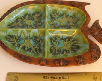 Treasure Craft Fish Snack Tray Pottery (1117)