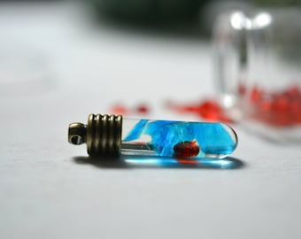 Blue and Red Crystal Necklace Boho Chic Antique Style Jewelry Blood Red Ocean Blue Science Jewelry Homegrown Crystals