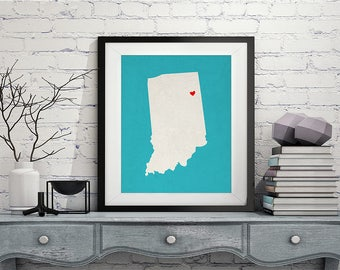 Custom Indiana State Art, Customized State Map Art, Personalized Gift, Indiana Art, Heart Map, Indiana Map, Hometown Love Map, Indiana Print