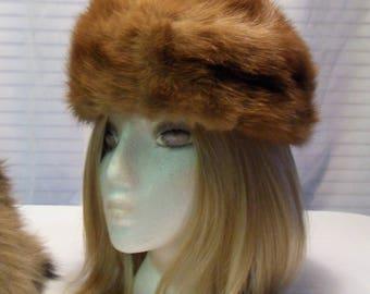 Vintage Mink Fur Hat Carmel Colored Mink Hat Mr John Jr Fur Hat