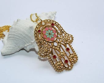 Pendants, necklace and earrings, necklace, Hamsa hand, gold with Emaillie, ball chain