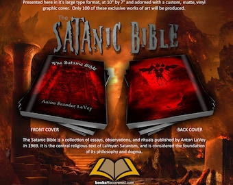 The Satanic Bible - Anton LaVey - HELL Design by BooksRecovered FREE SHIPPING