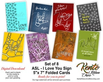 DIY - Set of 8 - ASL 5x7 Card Templates - Variety of I Love You Sign Cards - Free A7 Envelope Template - ZIP File Download