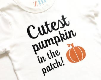 Cutest pumpkin in the patch Bodysuit tshirt, My 1st first Halloween, October Fall, baby girl boy gift, trick or treat, jack o lantern, cute