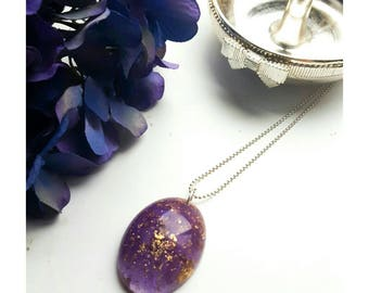 Purple and gold leaf resin pendant