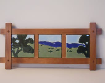 Framed Craftsman / Mission Style Tile Wall Art available in 4 designs.         Choose  Green Oaks, Autumn Oaks, West Coast, or Valley River.
