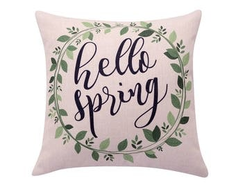 Spring wreath throw pillow covers Watercolor leaf pillow cover Hello spring decorative pillow case Quote cushion cover Sofa home decor 18x18