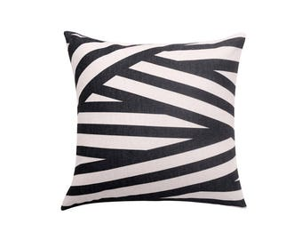 Striped throw pillow covers Geometric decorative pillow cover Black pillow case Linen cushion cover Throw pillows for couch Home decor 18x18