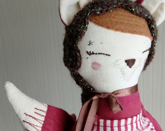 Fox Rag Doll, Handmade Doll, Girl Doll, Fabric Doll, Cloth Doll, Custom Doll