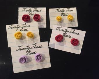 Rose earrings studs (Sterling Silver)