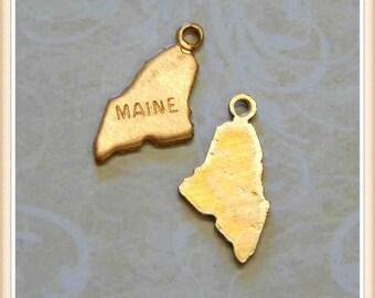 Maine 12 pcs raw brass state charm ME