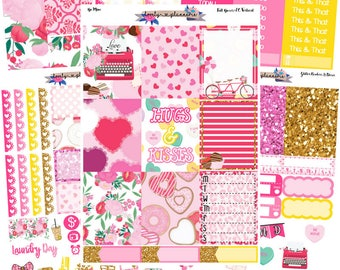 HORIZONTAL KIT, Be Mine, Weekly Sticker Kit, Made for Use with Erin Condren Life Planners, EC Horizontal, Planner Stickers, Sticker Kit