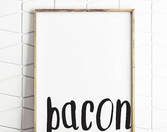 70% OFF SALE bacon wall art, bacon wall print, bacon printable, bacon download, bacon digital art, bacon instant poster, bacon kitchen art