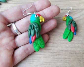 Lilac crowned amazon earrings necklace handmade fimo parrot earrings