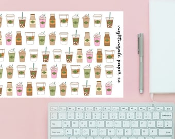 Cute Coffee Planner Stickers - Coffee, Tea, Frappucino, Iced Coffee, Mocha, Pink Drink Planner Stickers