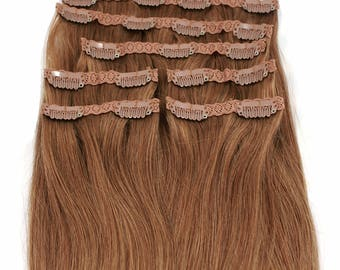 Honey Blonde: Clip In Human Hair Extensions, Color #8