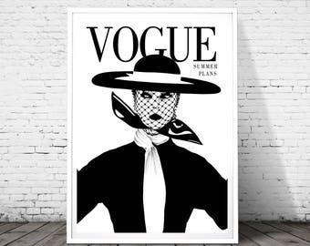 Vogue print, Vogue poster,vogue magazine cover print, Fashion Print, Fashion Illustration, fashion wall art,Vogue Cover Print 1950