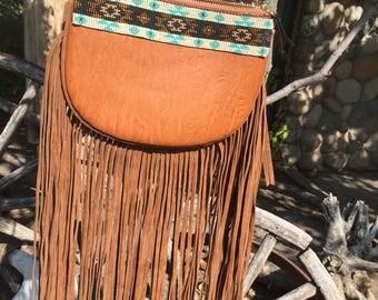 Fringed Beaded Purse- PRICE REDUCED- SALE- Boho Purse - fringe purse - festival purse- western purse