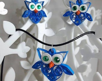 set necklace earrings owls blue quilling