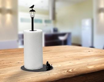 Cat vs. Crow - Paper Towel Holder - Metal Kitchen Paper Stand - Black