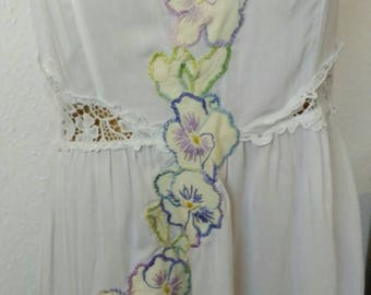 Preloved to Reloved strappy white sundress with vintage embroidered flowers EU 40 US 10