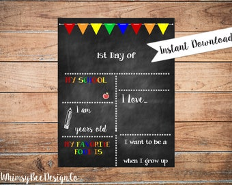 Reusable First Day Of School Chalkboard Printable Poster for Boy Back to School Sign