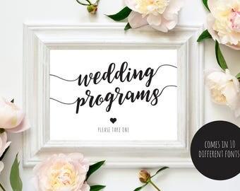 Wedding Program Sign, Ceremony Program Sign, Please take one sign, PDF Instant Download