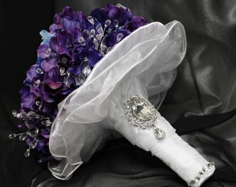 "FULL PRICE for opening!!! 10"" Amazing Ready to Ship Real Touch Hydrangeas Bridal Brooch Bouquet"