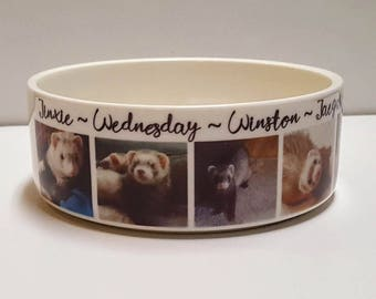 Ferret, Personalized Ferret Bowl, Water Dish, Ferret Dish, Pet Food Bowl, Custom Ferret Bowl