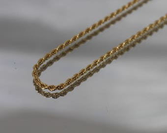 """18k - 20"""" - Solid Traditional Rope Necklace Chain in Yellow Gold"""