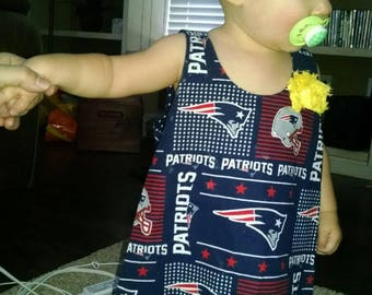 Reversible New England Patriots/Boston Red Sox Toddler Pinafore Dress with optional bloomers