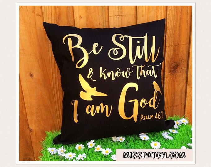 Featured listing image: Bible Verse Scripture Cushion Cover Psalm 46:10