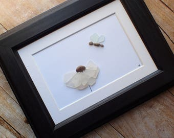 Sea glass flower and butterfly art picture / Divorcee / Gift for best friend / Just because gift / Thoughtful gift idea / Beach decor