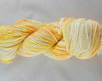 15% Silk - Sport Weight Yarn - Yellow and Orange - 75 Percent Polwarth Wool - Hand painted in Canada - Spring Speckles - DK Weight #432