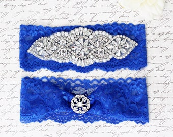 Royal blue Wedding Garter Set NO SLIP grip vintage rhinestones