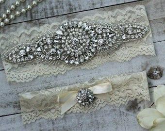 Ivory Wedding Garter Set NO SLIP grip vintage rhinestones, pearl and rhinestone garter set