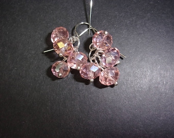 pink or brown faceted chandelier beaded dangle earrings