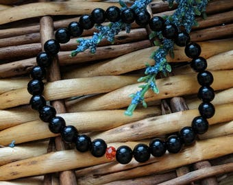 Black Bead Bracelet, Black Bracelet, Valentine's Gift For Her, Black Minimalist Bracelet, Small Bead, Stretch Bracelet | Jewelry for a Cause