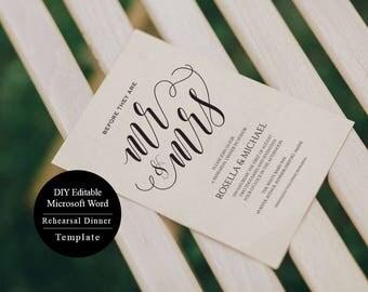 Wedding Rehearsal, Rehearsal Dinner invitation template, Rehearsal printable, Modern, Invitation Templates, MSW57