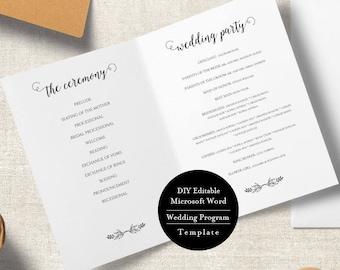 program template for wedding