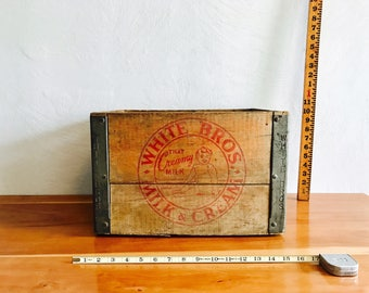 Vintage White Bros Milk Crate