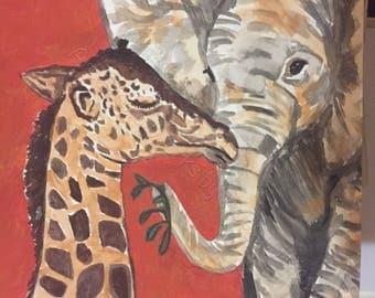 Baby elephant and giraffe