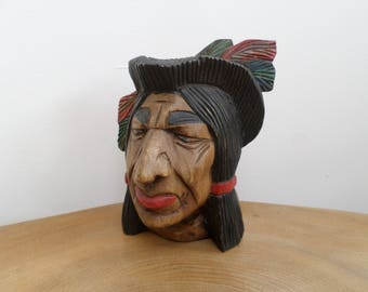 Vintage Hand Carved, Painted Wooden Figurine, Sculpture - Native American Indian Brave's Head