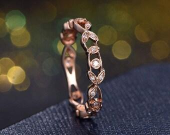 Full Eternity Band Bezel Engagement Ring Bezel Set Ring Art Deco Wedding Band in 14k rose Gold Marquise Ring,best friends,gift for her