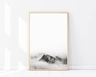 Landscape Photography PRINT, Mountain Photography, Modern Minimalist, Scandinavian Wall Art, Mountain Art Print, Forest Print, Black & White