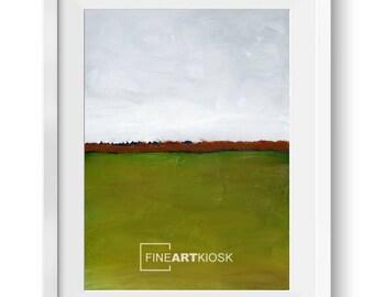 Horizont-Druck-V, Landschafts-Poster, Wand-Kunst-Druck, Grüne-Wiesen-Dekor, moderne Öl-Malerei, digital Download