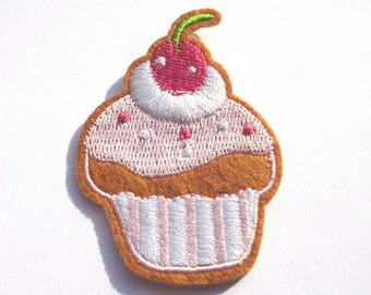 Embroidered Cupcake Iron on Patch with a Cherry and Pink Frosting, Cake Patch, Cupcake Patch, Cake Iron on Patch - H809