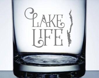 Set of 2 - Lake George Lake Life - Etched 10.25 oz Rocks Glass